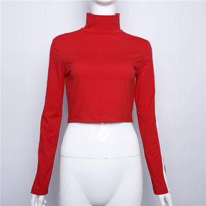 Letter stand collar navel long sleeve pullover T-shirt
