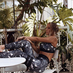 Printed vest trousers yoga fitness two-piece suit