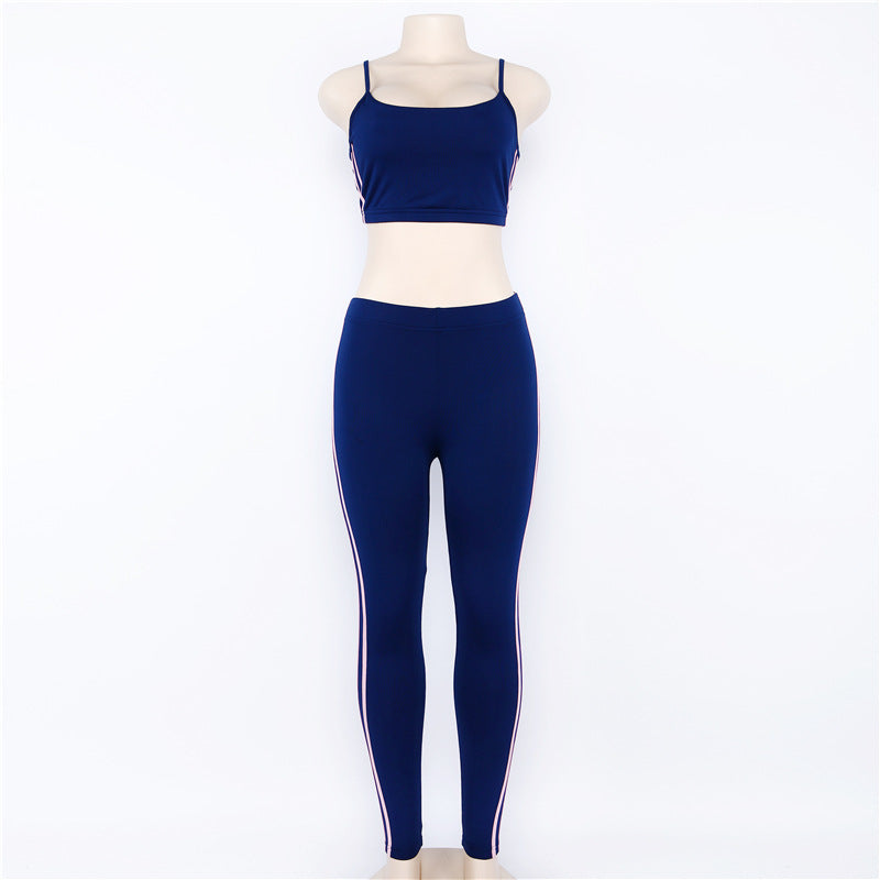 Solid color strip yoga Fitness suit