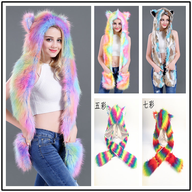 Rainbow Unicorn Faux Fur Hat Fur Cap Cartoon Animal Hat Scarf Gloves
