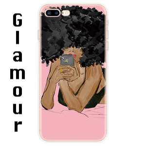 Afro Girls Black Women Art Silicone iPhone Case