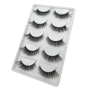 3D Mink Full Strip Fake Eyelashes (5-Pairs)