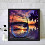 World In Glass Serie Warm Zonsondergang Diamond Painting /Diamant Malerei Set AF9728