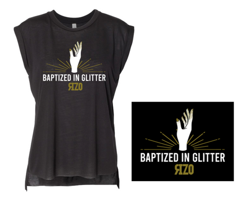 Baptized in Glitter Flowy Tee