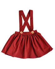 Load image into Gallery viewer, Abby Pleated Suspender Skirt - Wine