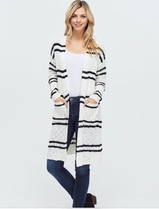 Henley Striped Cardigan