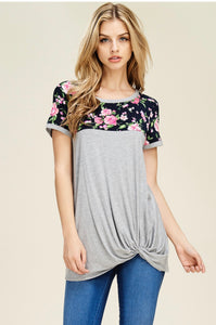 Callie Floral and Solid Twist Top
