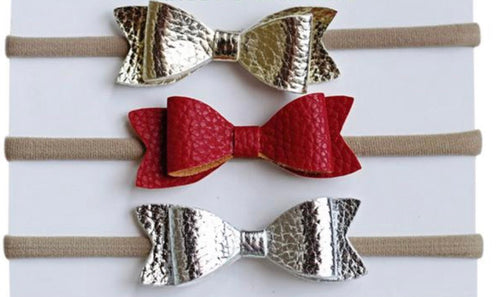 Metallic Leather Bow Set