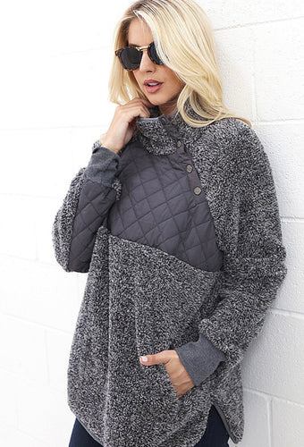 Leslie Quilted Fur Pullover