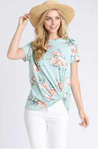Tenley Mint Side Twist Short Sleeve