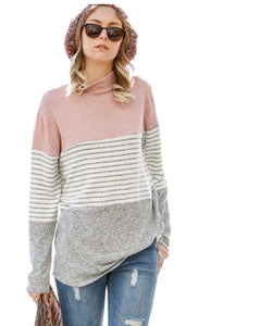 Anna Pink Color Block Sweater