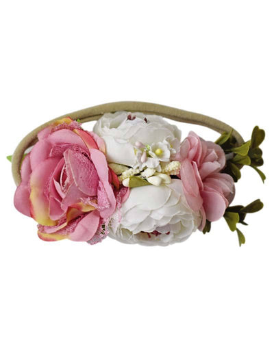 Floral Stretch Headband Pink and Ivory
