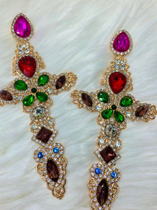 Gem Cross Earrings