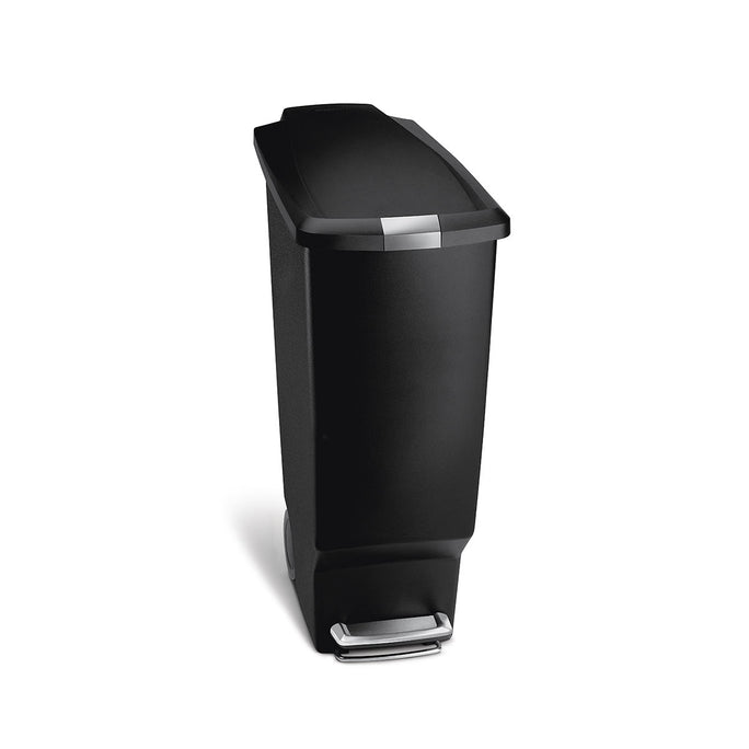 40L slim plastic step can - black - front view main image