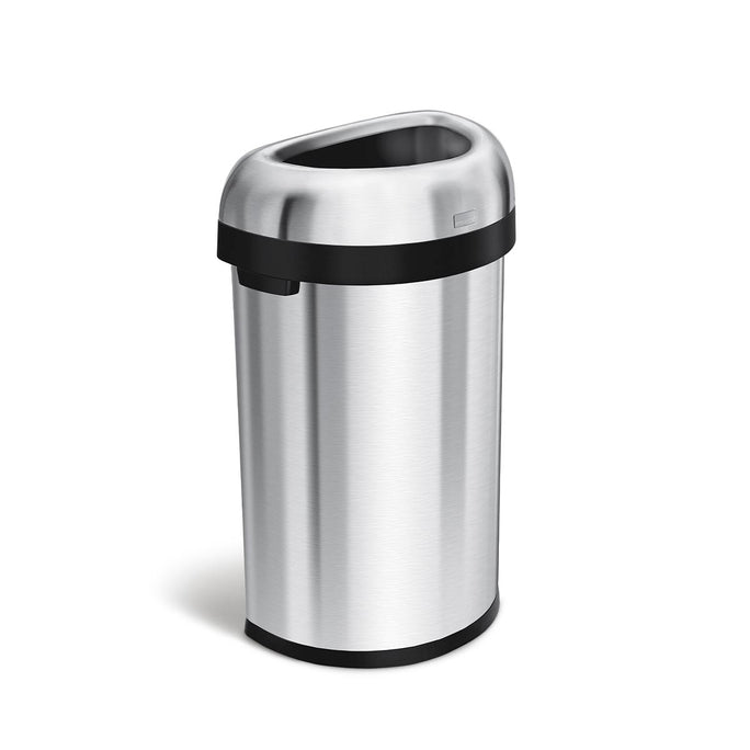 60L semi-round open can - brushed stainless steel - 3/4 view main image