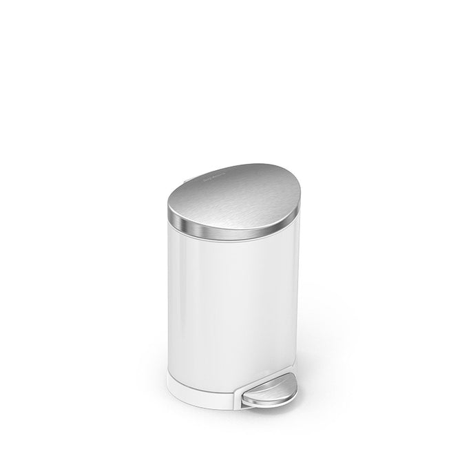 6L semi-round step can - white finish with stainless steel lid - 3/4 view main image