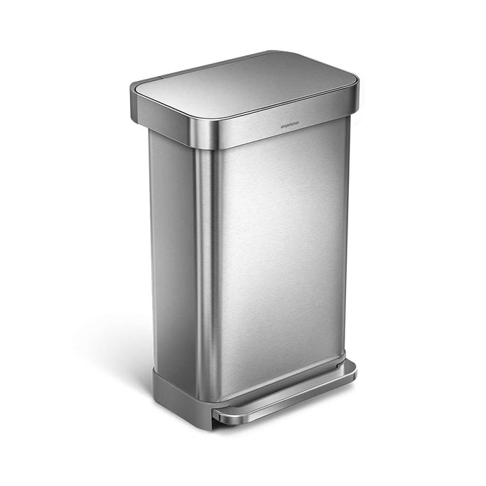 45L rectangular step can with liner pocket - brushed finish - main image