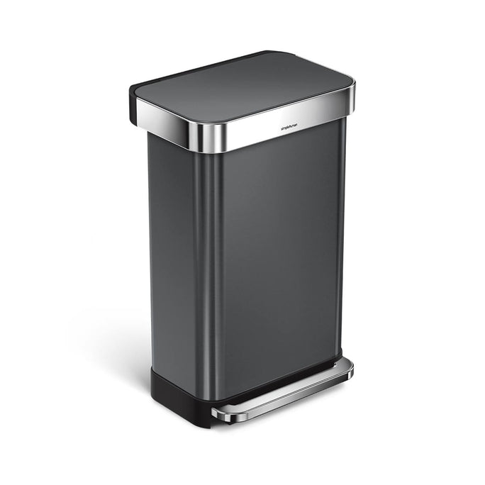 45L rectangular step can with liner pocket - black finish - main image
