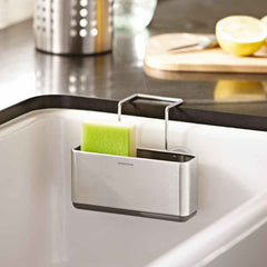 slim sink caddy - lifestyle attached to sink green sponge