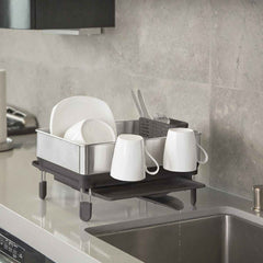 compact steel frame dishrack - lifestyle with cups kitchen sink
