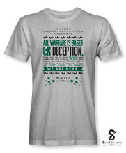 "Load image into Gallery viewer, ""All Warfare Is Based On Deception...."" ~ Sun Tzu: The Art of War T-Shirt Unisex-HEATHER GREY"