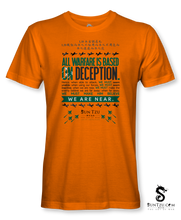 "Load image into Gallery viewer, ""All Warfare Is Based On Deception...."" ~ Sun Tzu: The Art of War T-Shirt Unisex-ORANGE"