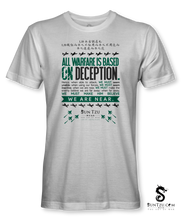 "Load image into Gallery viewer, ""All Warfare Is Based On Deception...."" ~ Sun Tzu: The Art of War T-Shirt Unisex-WHITE"