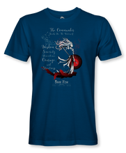 "Load image into Gallery viewer, The Commander Stands For Virtues..."" ~ Sun Tzu: The Art of War, Female Warrior, T-Shirt Unisex, Blue"