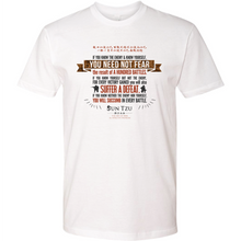 "Load image into Gallery viewer, Sun Tzu The Art of War T-Shirt with Quote ""If You Know The Enemy And Know Yourself, Need Not Fear A Hundred Battles..."""