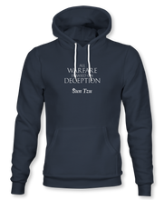 "Load image into Gallery viewer, ""All Warfare Is Based On Deception"" ~ Sun Tzu: The Art of War, Hoodie, Unisex, Midnight Navy"