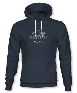 """All Warfare Is Based On Deception"" ~ Sun Tzu: The Art of War, Hoodie, Unisex, Midnight Navy"