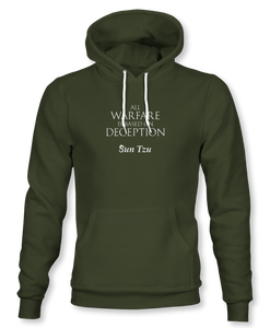 """All Warfare Is Based On Deception"" ~ Sun Tzu: The Art of War, Hoodie, Unisex, Military Green"
