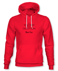 """All Warfare Is Based On Deception"" ~ Sun Tzu: The Art of War, Hoodie, Unisex, Red"