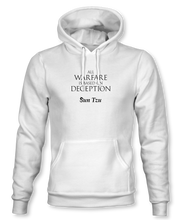 "Load image into Gallery viewer, ""All Warfare Is Based On Deception"" ~ Sun Tzu: The Art of War, Hoodie, Unisex, White"