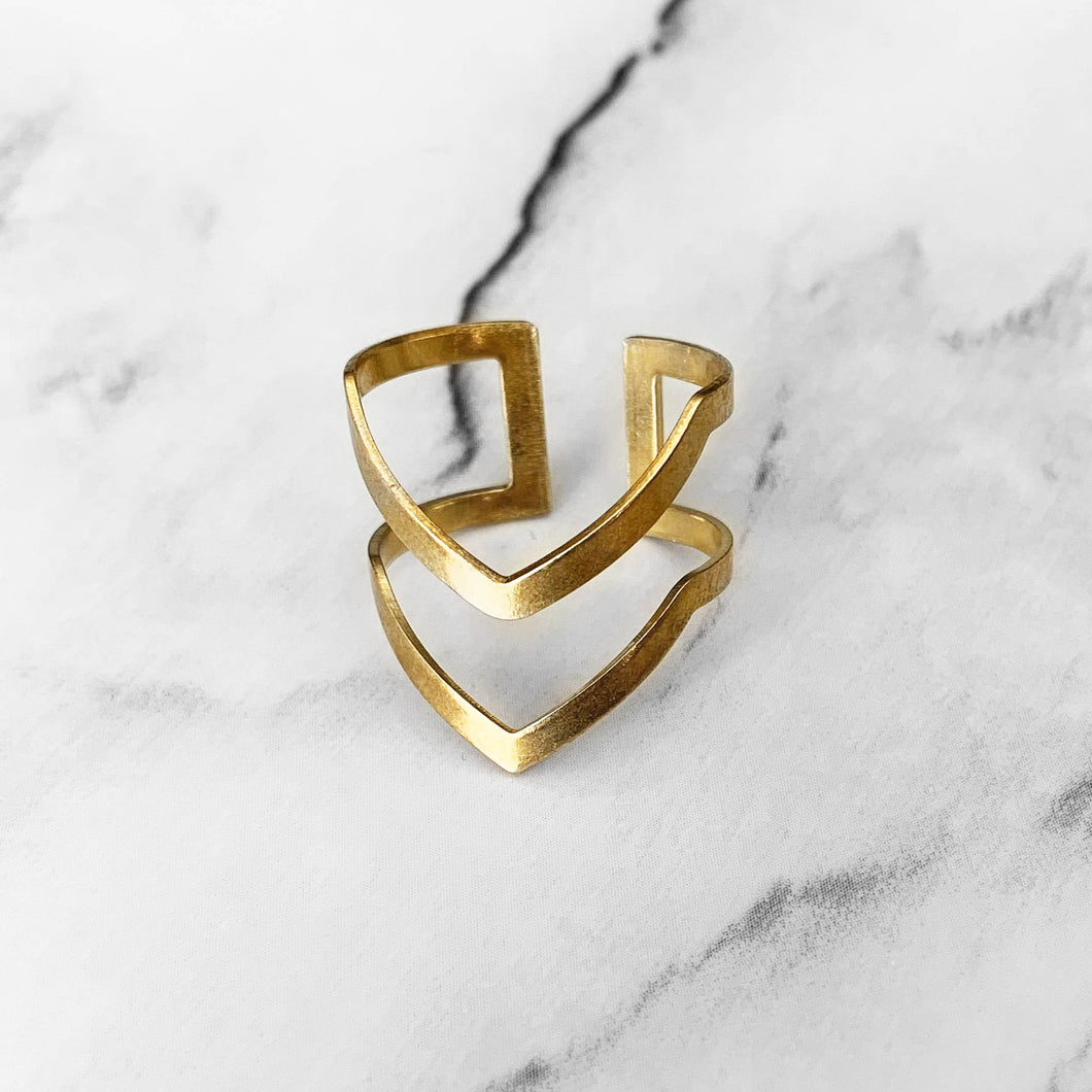 Double Chevron Ring