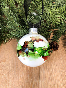 #4 - Holiday Hand-Painted Alcohol Ink Ornament