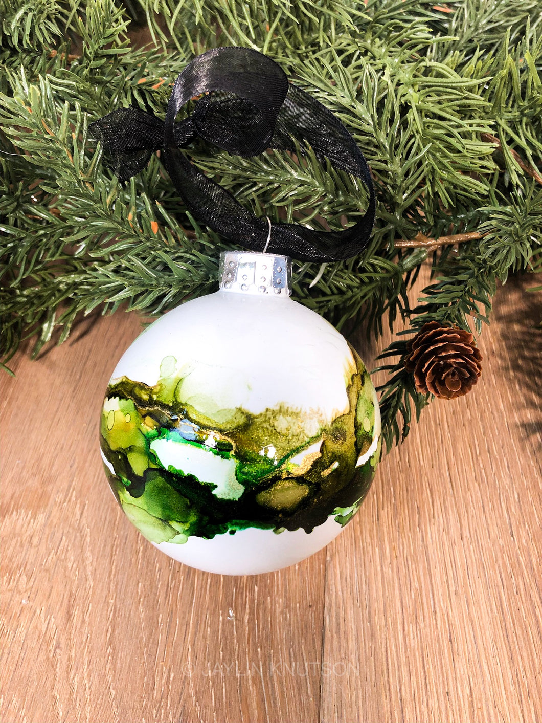 #1 - Holiday Hand-Painted Alcohol Ink Ornament