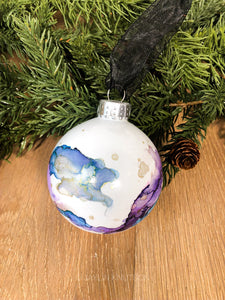 #9 - Holiday Hand-Painted Alcohol Ink Ornament