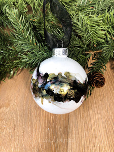 #12 - Holiday Hand-Painted Alcohol Ink Ornament