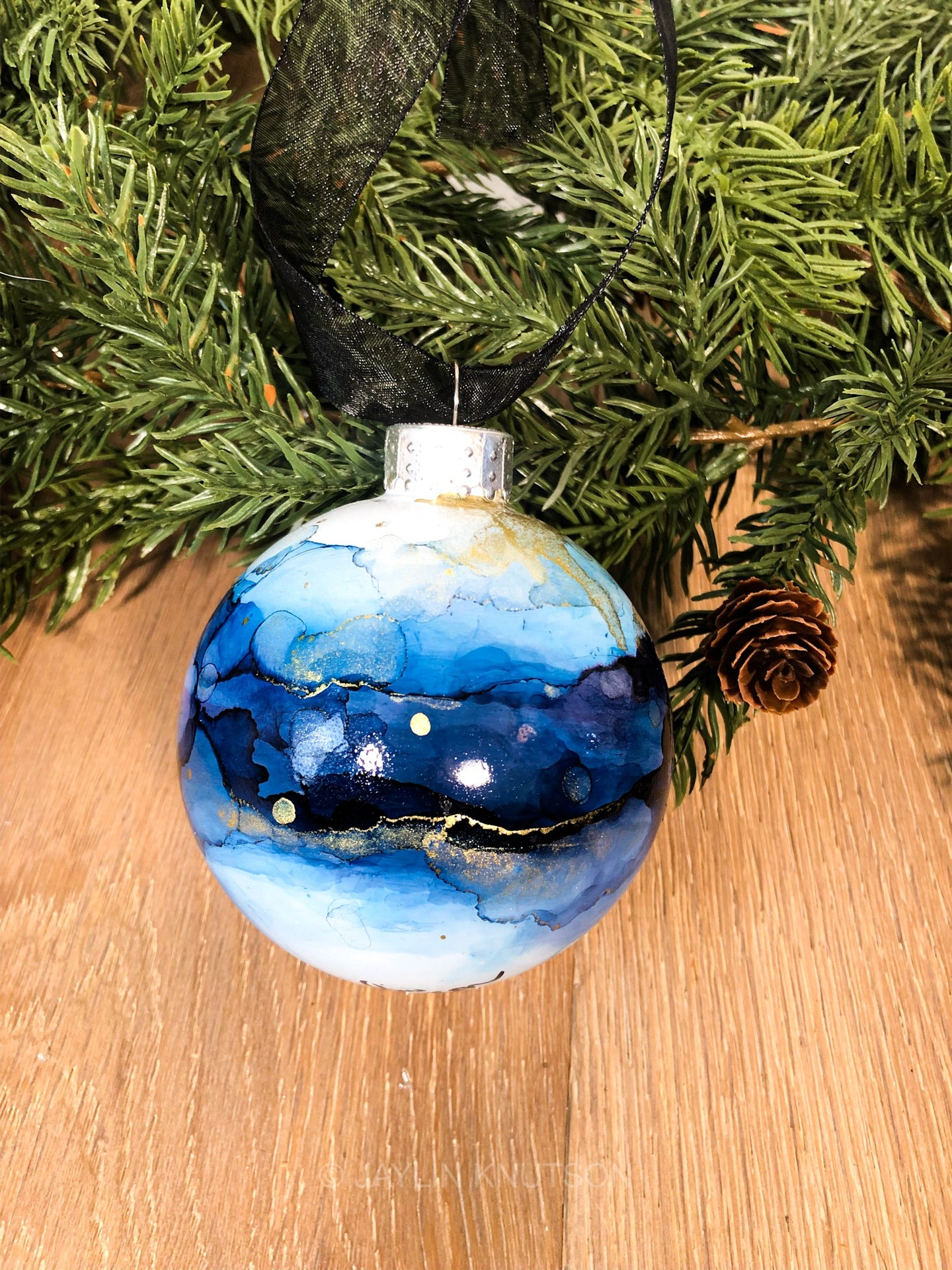 #3 - Holiday Hand-Painted Alcohol Ink Ornament