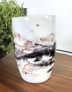 center view Variety of midnight black hues and copper alcohol ink hand-painted on 20 oz porcelain coffee mug. Signed by the artist, Jaylin Knutson.