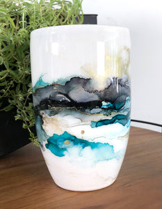 center view Sea teal, midnight black, and copper alcohol ink hand-painted on 20 oz porcelain coffee mug. Signed by the artist, Jaylin Knutson.