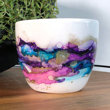 Load image into Gallery viewer, Pink, teal, purple, and gold alcohol ink hand-painted on 16oz stoneware coffee mug. Signed by the artist, Jaylin Knutson. front view