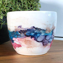 Load image into Gallery viewer, Pink, teal, and copper alcohol ink hand-painted on 16oz stoneware coffee mug. Signed by the artist, Jaylin Knutson. front view