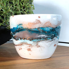 Load image into Gallery viewer, Sea teal, black and copper alcohol ink hand-painted on 16oz stoneware coffee mug. Signed by the artist, Jaylin Knutson. front view