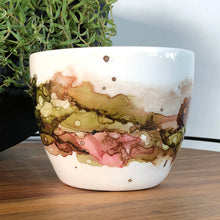 Load image into Gallery viewer, center view Forest green, salmon, sandy brown and copper alcohol ink hand-painted on 16oz stoneware coffee mug. Signed by the artist, Jaylin Knutson.
