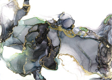 Load image into Gallery viewer, black, white, hints of green and gold alcohol ink abstract painting 5x7 original flowing abstract art