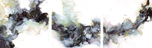 black, white, with hints of blue and pink, gold alcohol ink abstract painting 7x21 original flowing abstract art