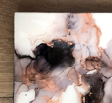 Load image into Gallery viewer, black, white, and copper alcohol ink abstract painting 6x6 original flowing abstract art
