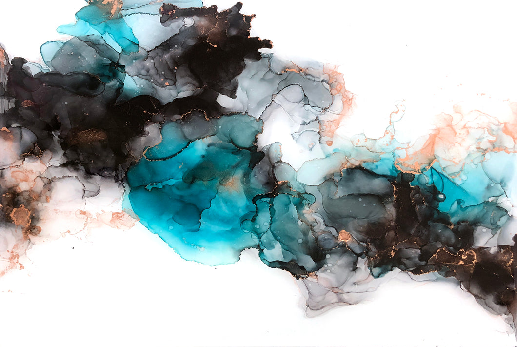 teal, black, and copper alcohol ink abstract painting 12x16 original flowing abstract art